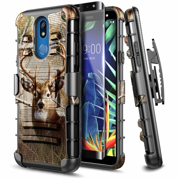 LG K40 Case, LG Solo LTE / K12 Plus/ LG X4 (2019) with Tempered Glass Screen Protector [Full Coverage], E-Began Belt Clip Holster Kickstand Heavy Duty Armor Defender Shockproof Rugged Case -Deer
