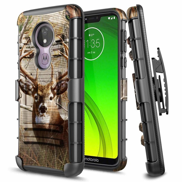 Moto G7 Power Case, Motorola Moto G7 Optimo Maxx /Moto G7 Supra Case, E-Began Belt Clip Holster Kickstand Hybrid Heavy Duty Armor Defender Shockproof Rugged Premium Case -Deer
