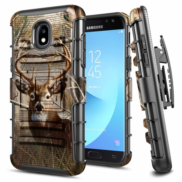 Galaxy J7 2018, J7 Star/J7 V 2nd Gen/J7 Refine/J7 Crown/J7 TOP Case, E-Began Belt Clip Holster Kickstand Protective Hybrid Cover Heavy Duty Armor Defender Shockproof Case for Samsung J7 2018 -Deer