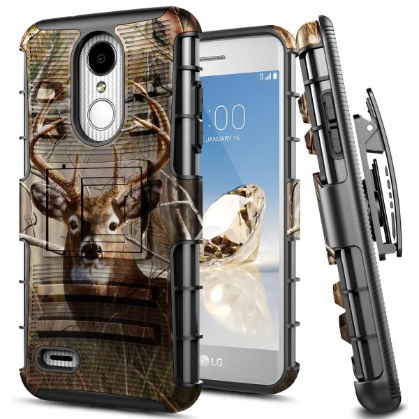 LG Rebel 4 LTE Case, Aristo 3+ Plus/Aristo 3/Aristo 2/Aristo 2 Plus/Tribute Dynasty/Empire/Zone 4/Phoenix 4/Fortune 2/Risio 3/Rebel 3/K8+ Plus/K8S, E-Began Belt Clip Holster Shockproof Case -Deer