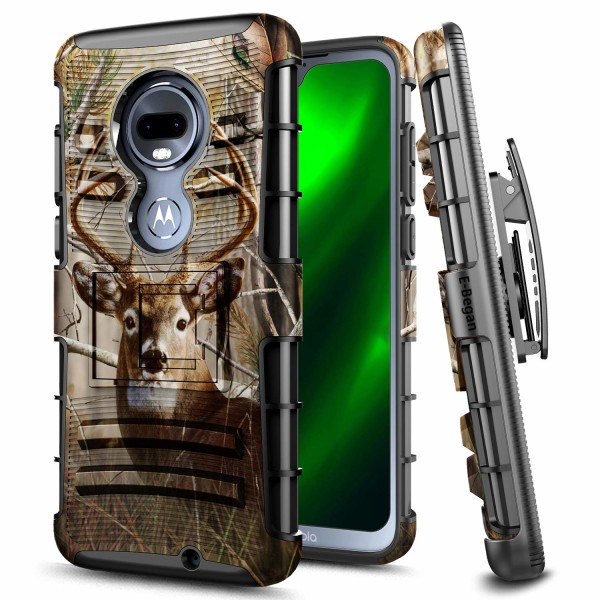 T-Mobile Revvlry+ Plus Case, Moto G7 /Motorola Moto G7 Plus Case, E-Began Belt Clip Holster Kickstand Protective Hybrid Cover Heavy Duty Armor Defender Shockproof Rugged Premium Case -Deer