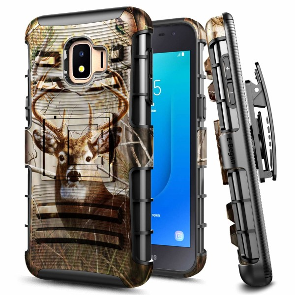 E-Began Case for Samsung Galaxy J2 Core /Galaxy J2 2019 /J2 Dash /J2 Pure /J260 /J2 Shine, Belt Clip Holster Kickstand Protective Hybrid Cover Heavy Duty Armor Defender Shockproof Rugged Case -Deer