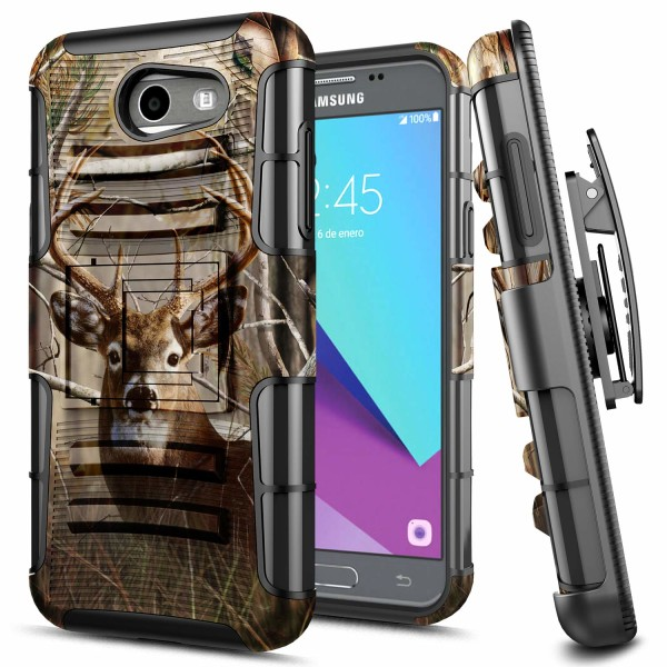 E-Began Samsung Galaxy J7 Prime Case, J7 2017/J7 V /J7 Sky Pro /J7 Perx /Galaxy Halo, Belt Clip Holster Kickstand Protective Hybrid Cover Heavy Duty Armor Defender Shockproof Rugged Premium Case -Deer