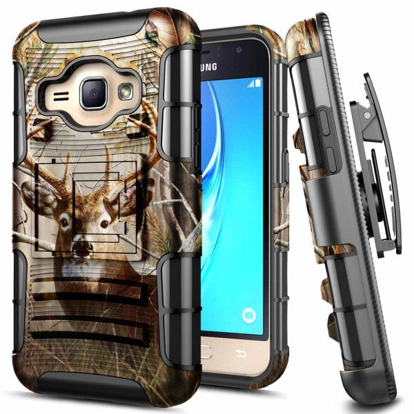 E-Began Samsung Galaxy Luna 4G LTE Case, Express 3 /J1 2016 (J120) /Amp 2, Belt Clip Holster with Kickstand Protective Hybrid Cover Heavy Duty Armor Defender Shockproof Rugged Premium Case -Deer