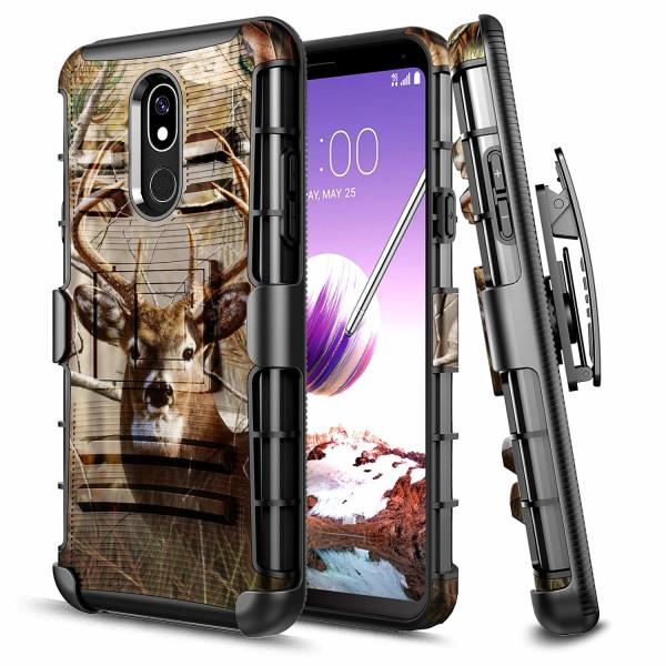LG Stylo 5 Case, LG Stylo 5 V Case, E-Began Belt Clip Holster with Kickstand Protective Hybrid Cover Heavy Duty Armor Defender Shockproof Rugged Premium Case for LG Stylo 5 (Deer)